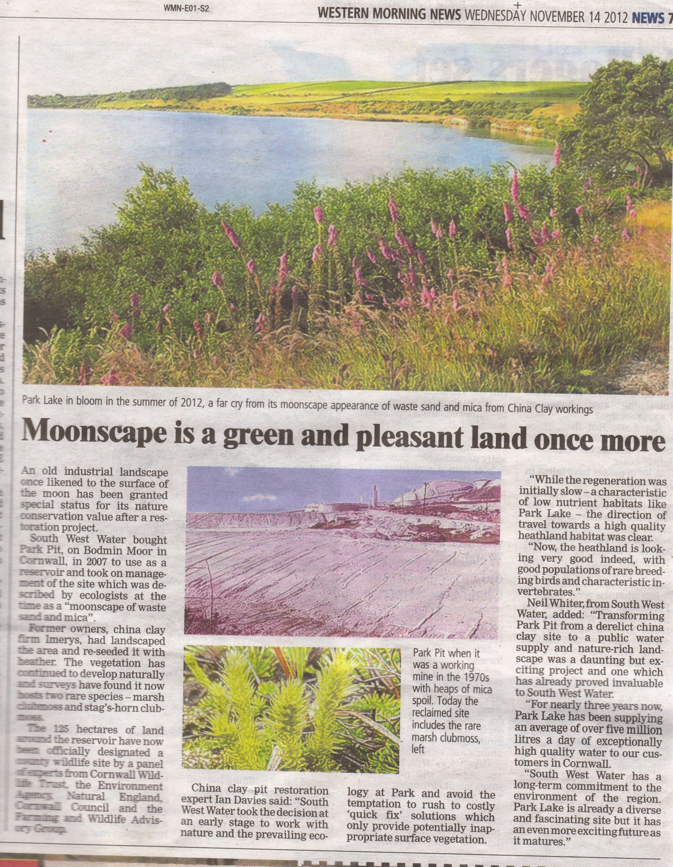 Western Morning News Moonscape article